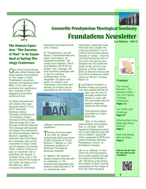 Foundations Newsletter 2013 #1