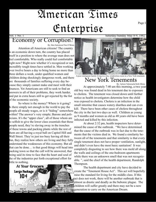 Gilded Age Newspaper