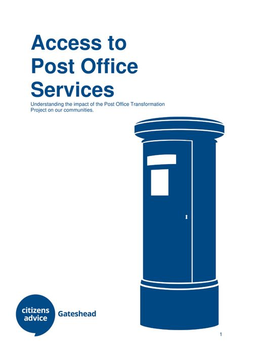 Access to Post Office Services Gateshead 2017