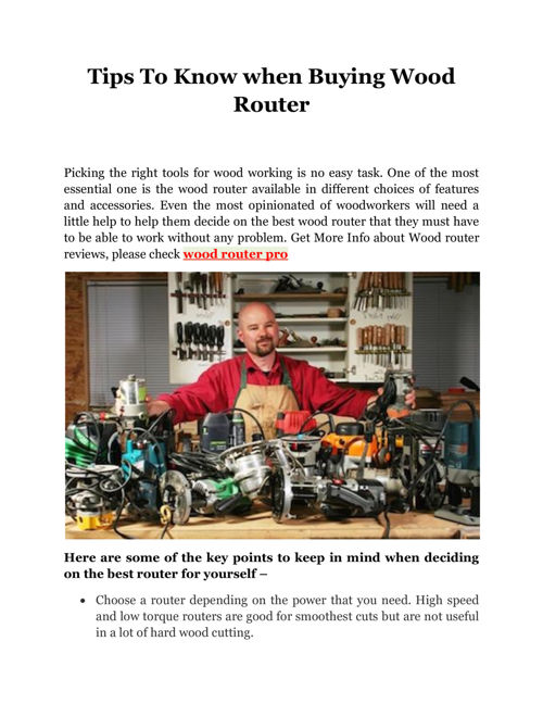 Tips To Know when Buying Wood Router