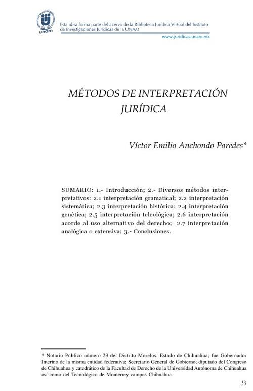 Métodos de Interpretación Jurídica