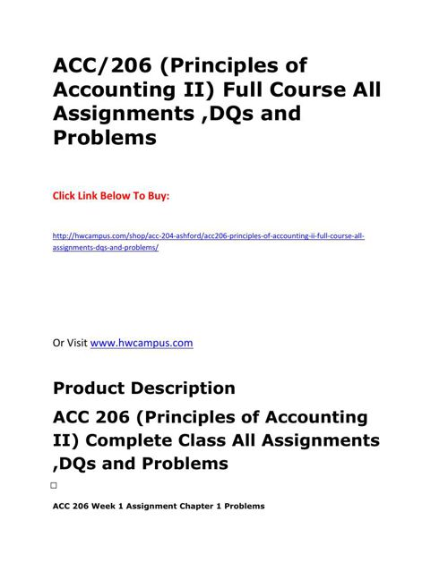 acc 206 week 7 homework chapter Acc 206 week 7 homework chapter 16 acc 556 week 6 homework chapter 10 and 11 chapter 10 1 a current.