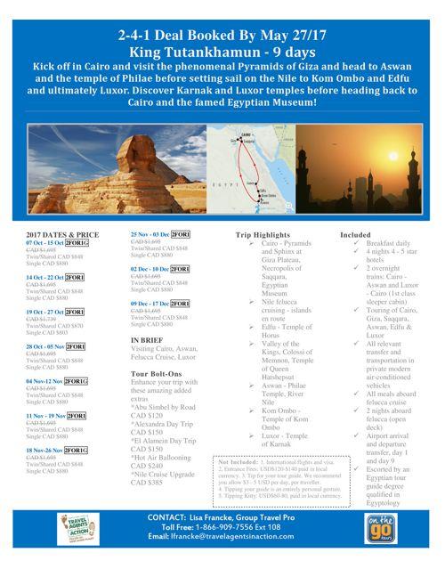 9 Day King Tutankhamun 2-4-1 Deals Book By March 27/17
