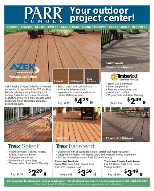 Parr Lumber September 2015 Inner Market Ad