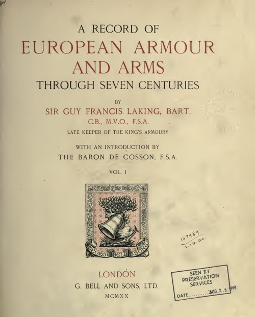 A Record Of European Armour And Arms - Vol 1