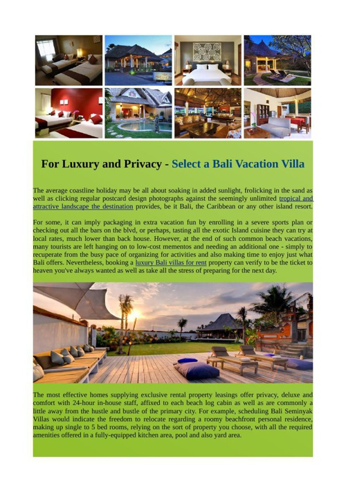 For Luxury and Privacy - Select a Bali Vacation Villa