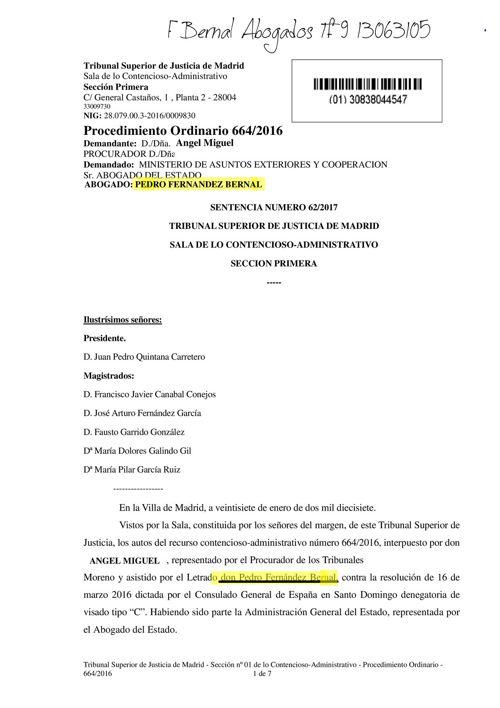sentencia tsj estima recurso fbernal abogados en visado  REP. DO