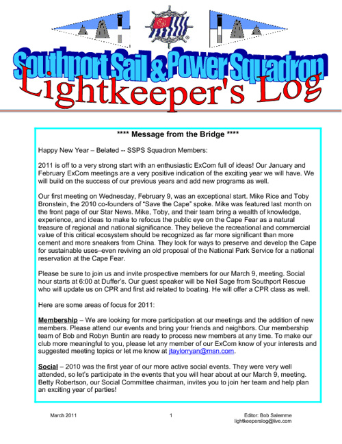 Lightkeepers Log -- 2011