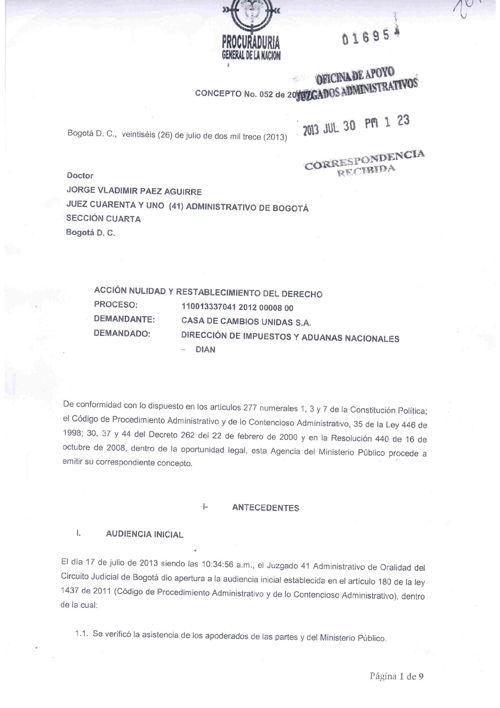UNIDAS - Concepto MIn.Publico al Juz 41 proc 2012-008