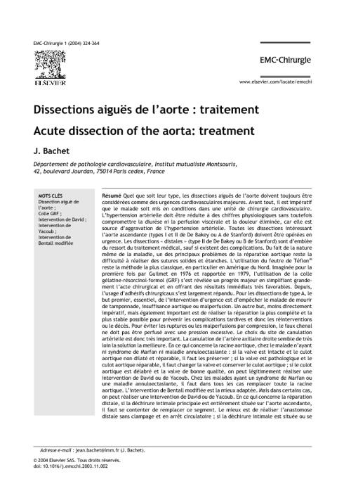 Dissections aiguës de l'aorte : traitement