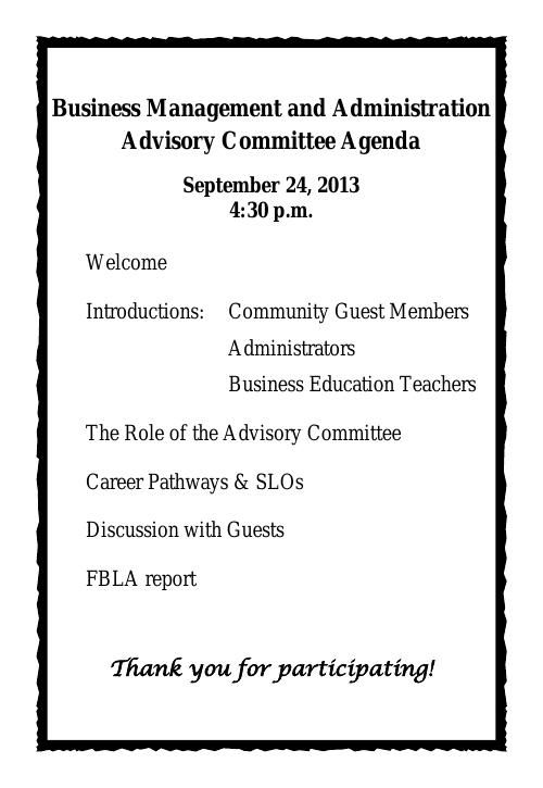 Advisory Committee Agenda Spring 2014 at SHMS