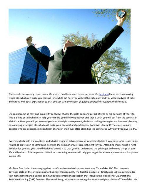 Meir Ezra - Business success stories