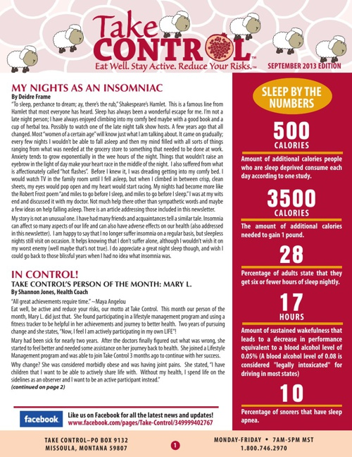 Take Control September Newsletter 2013