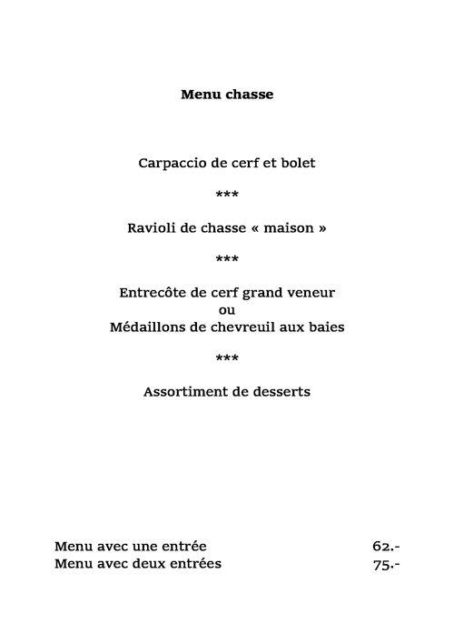Carte restaurant Les 3 Couronnes à Martigny