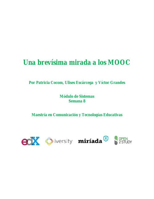 Una brevísima mirada a los MOOC