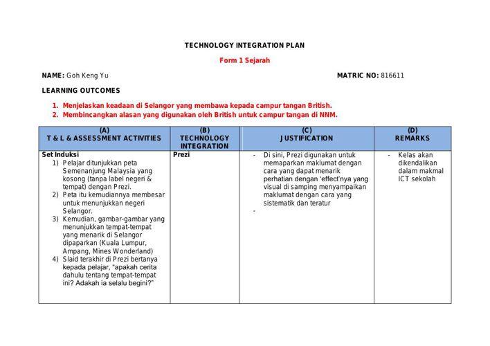 Keng Yu Goh Technology Intergration Plan