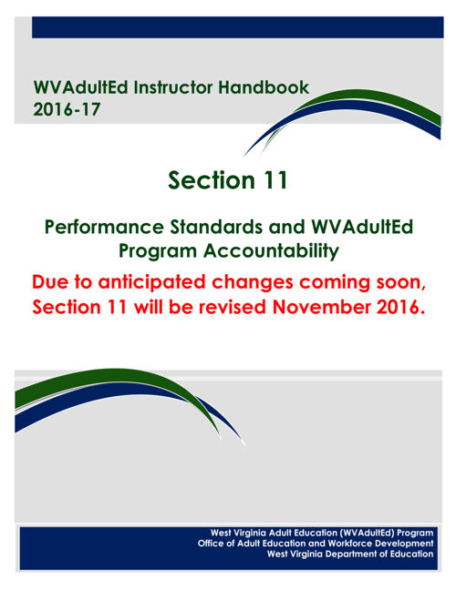 WVAdultEd Instructor Handbook 2015 - 2016 Section 11