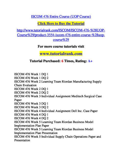 ISCOM 476 Course Success Begins / tutorialrank.com