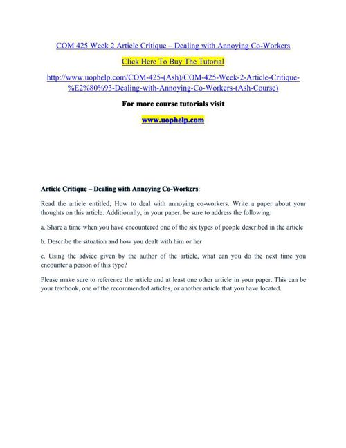 COM 425 Week 2 Article Critique