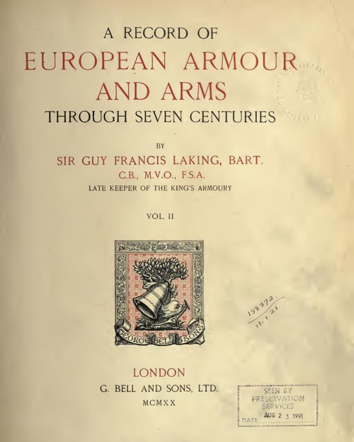 A Record Of European Armour And Arms - Vol 2