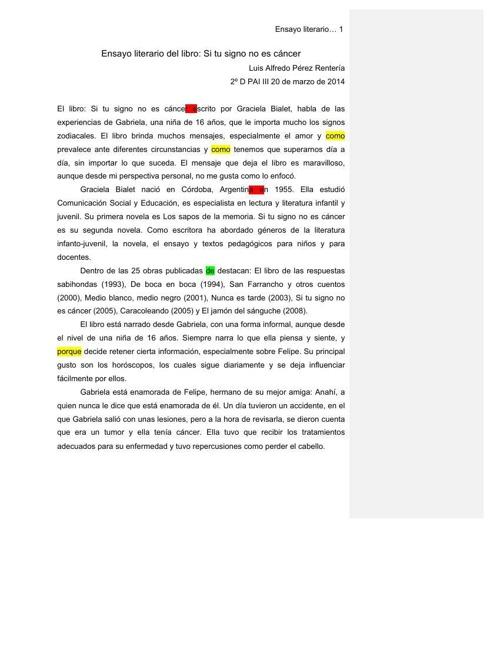 Ensayo literario Luis Pérez 2º D