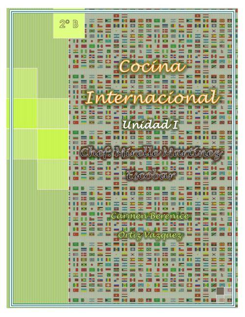 """Recetario Unidad 1 """" Cocina Internacional"""""""
