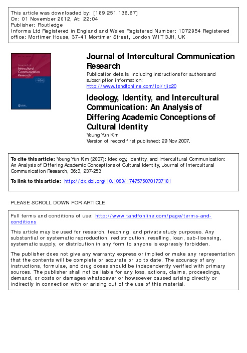 Ideology, identity and intercultural communication...