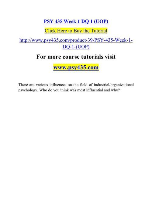 PSY 435 Week 1 DQ 1 (UOP)