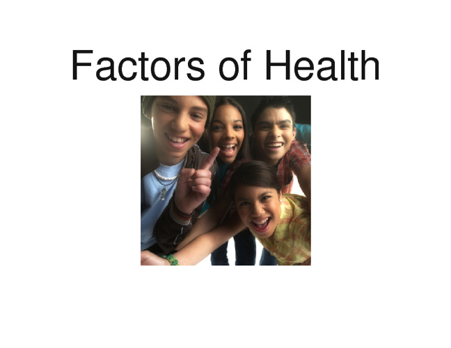 Factors of Health