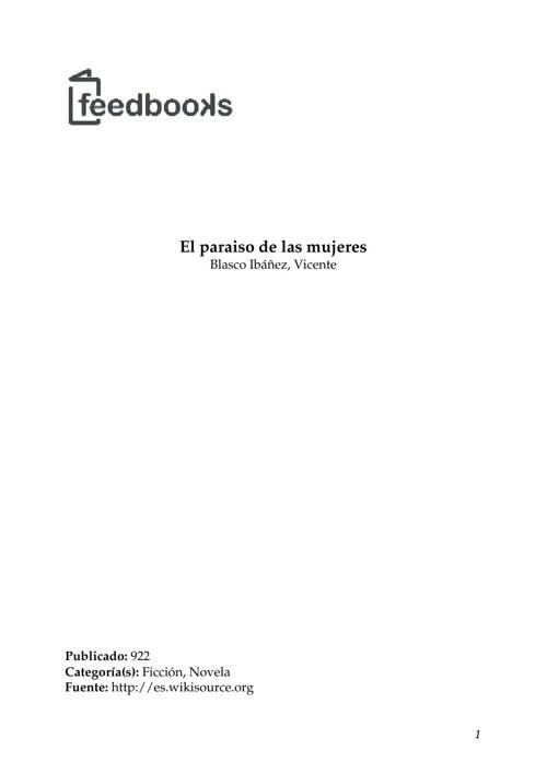 Vicente  Blasco Ibañez - El paraiso de las mujeres