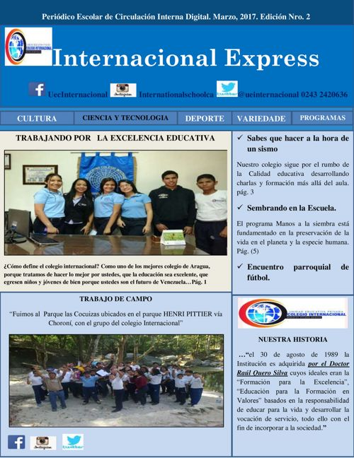 Periódico Escolar Colegio Internacional Maracay, Edo.Aragua