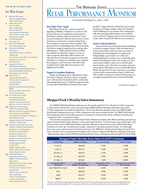 Retail Performance Monitor: VOL. 20, NO. 35 • June 14, 2011