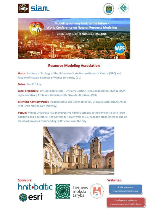 2014 World Conference in Natural Resource Modeling