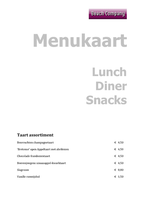 Copy of menukaart