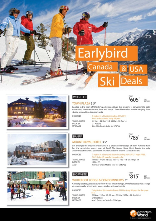 Earlybird Canada & USA Ski Deals