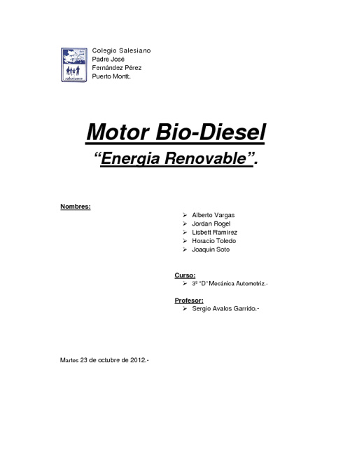 Informe Proyecto Bio-Diesel