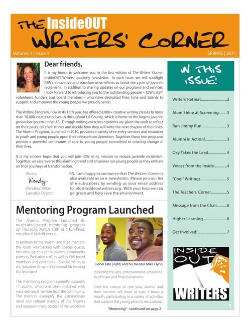 Writers Corner Vol1 Iss1 Spring 2011