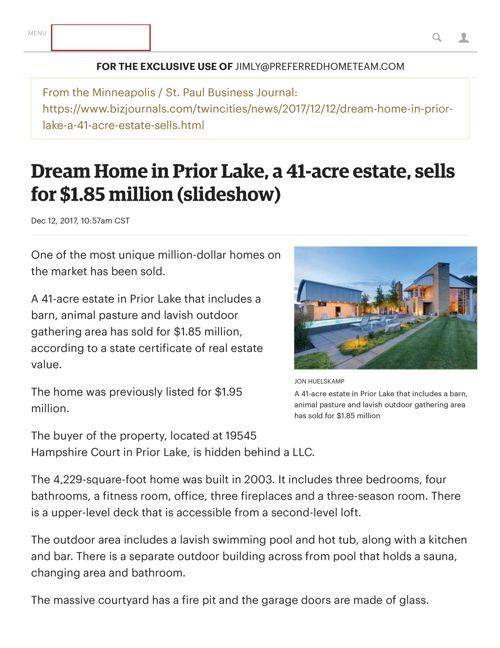 DREAM HOME SOLD BY CRHE
