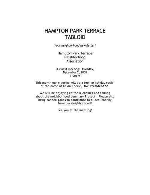 HPT Newsletter December 2008