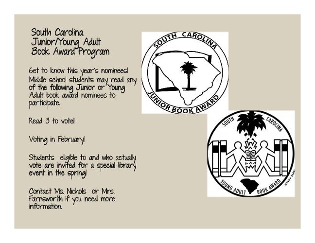 SC Junior/Young Adult Book Award Nominees - Part I