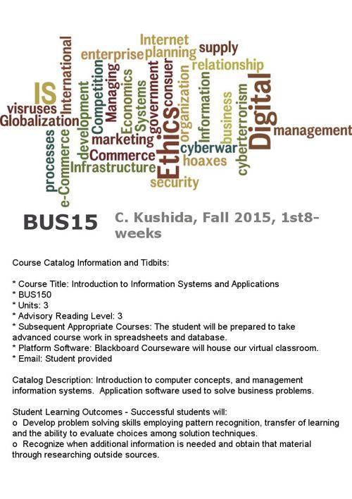 BUS150 Fall 2015, C. Kushida