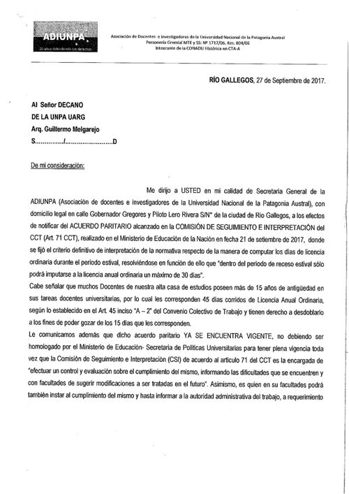 Nota Acuerdo Paritario - UARG