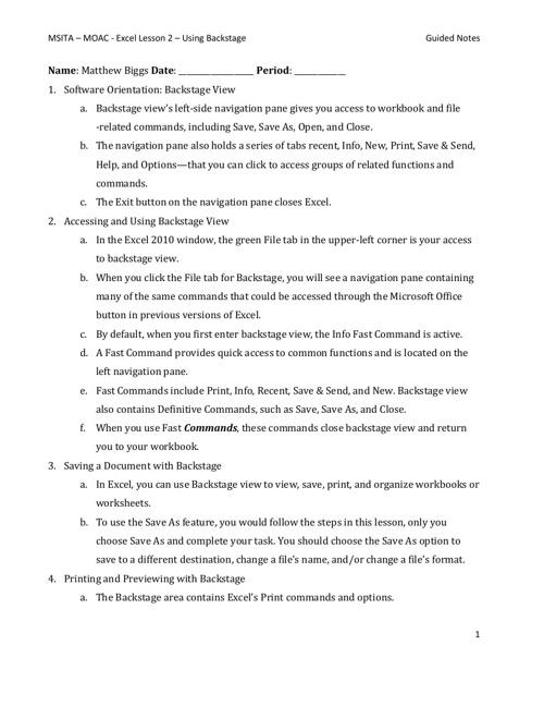 Excel lesson 2-Biggs-3rd Block