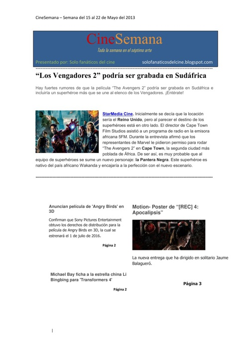 CineSemana (15 al 22 de Mayo - 2013)