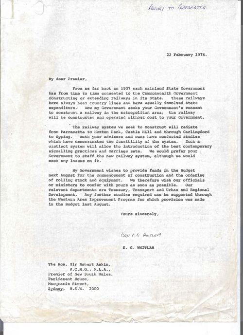 Letter to Premier Askin