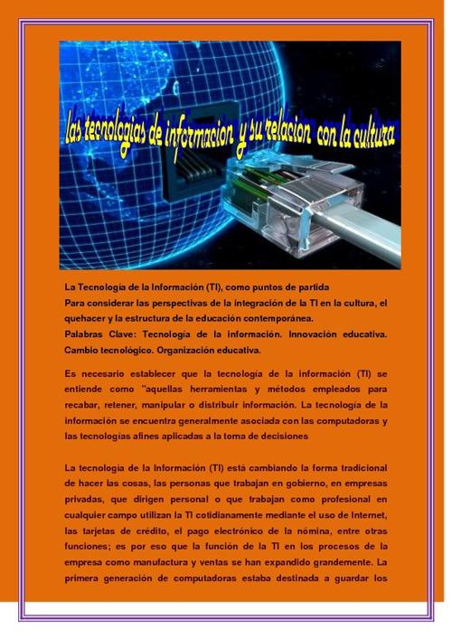 TECNOLOGIAS  DE INFORMACION  Y SU RELACION CON LA CULTURA