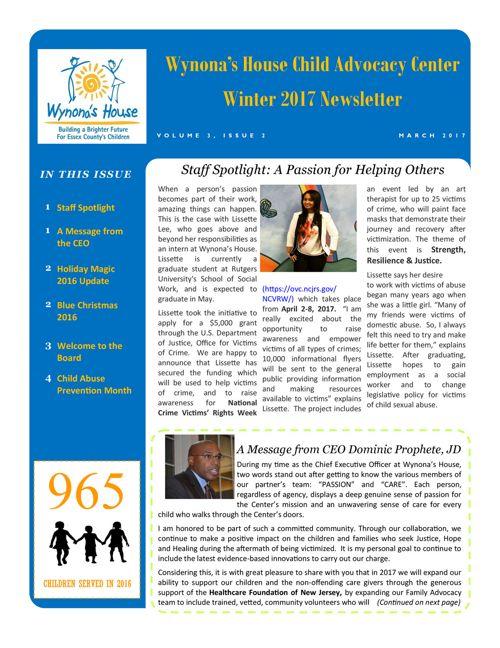 Wynona's House | Newsletter Winter 2017