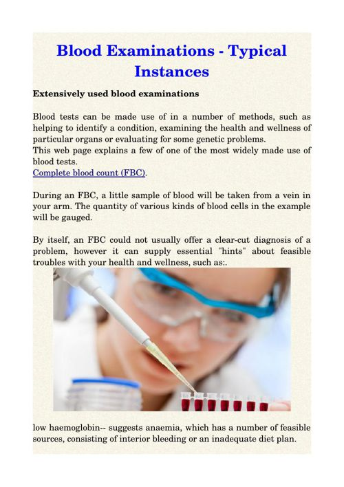 Blood Examinations - Typical Instances