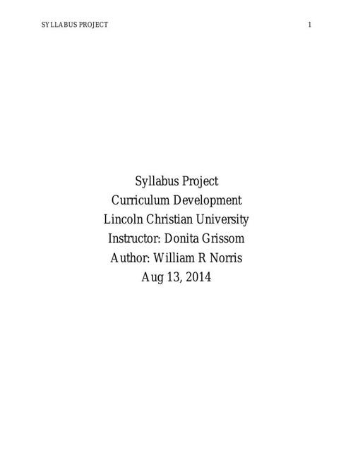 Syllabus Project