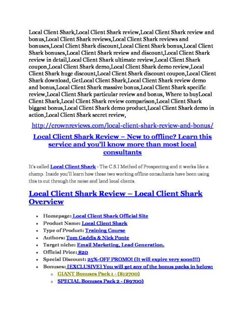 Local Client Shark reviews and bonuses Local Client Shark